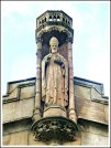 Statue of St Chad on Rochdale Parish church.
